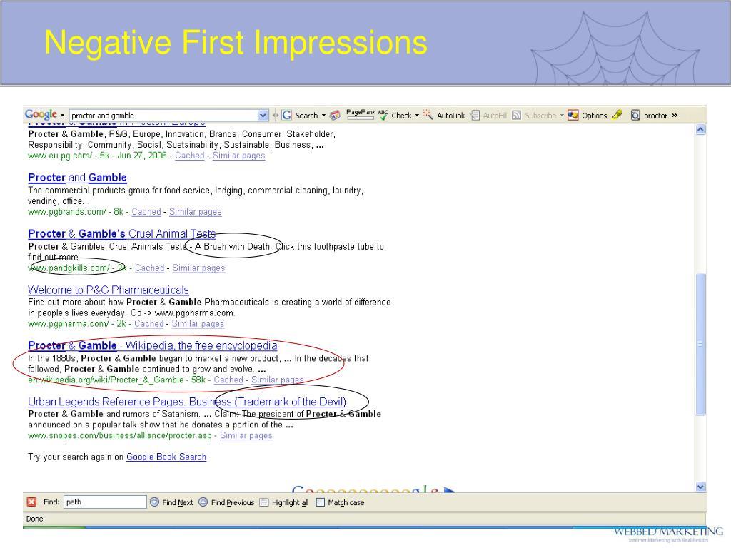 Negative First Impressions