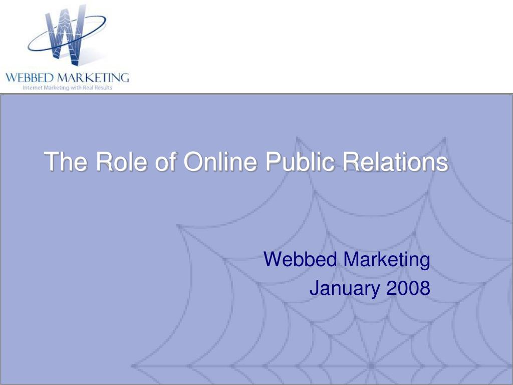 the role of online public relations l.
