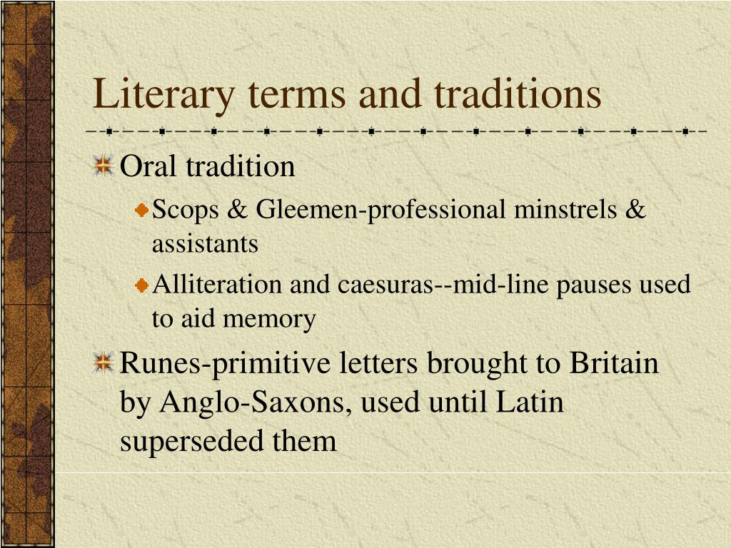 Literary terms and traditions