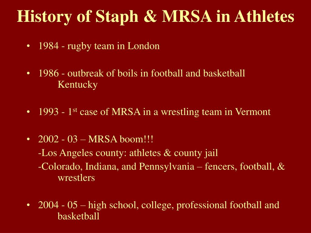 History of Staph & MRSA in Athletes