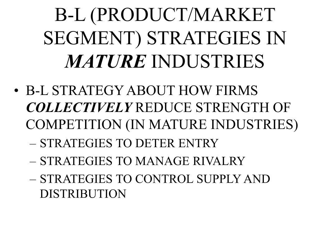 B-L (PRODUCT/MARKET SEGMENT) STRATEGIES IN