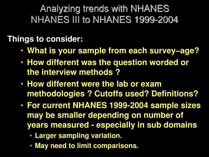 Analyzing trends with NHANES