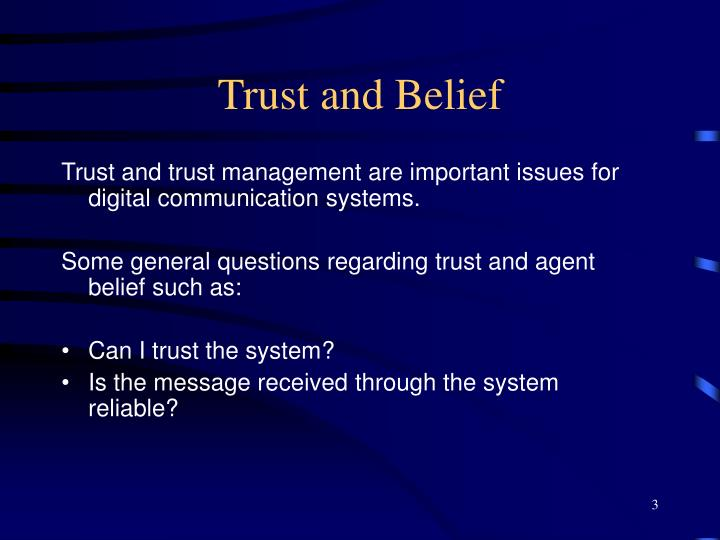 Trust and belief