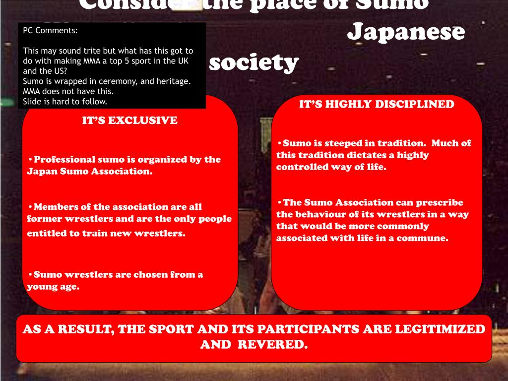 Consider the place of Sumo Wrestling in Japanese society