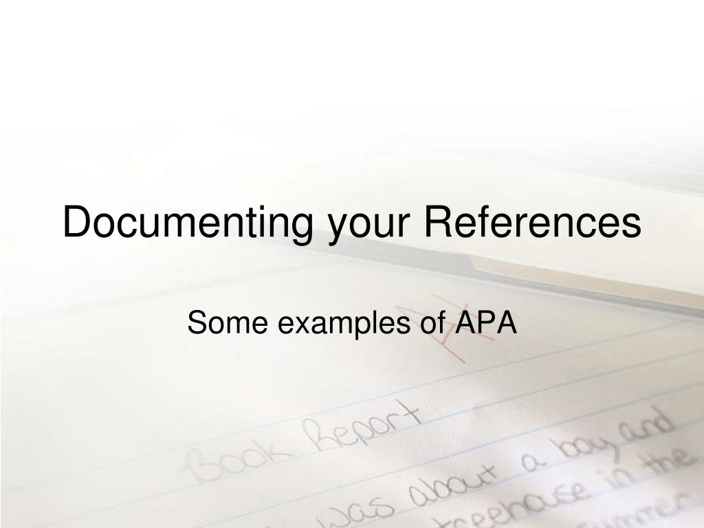 Documenting your References