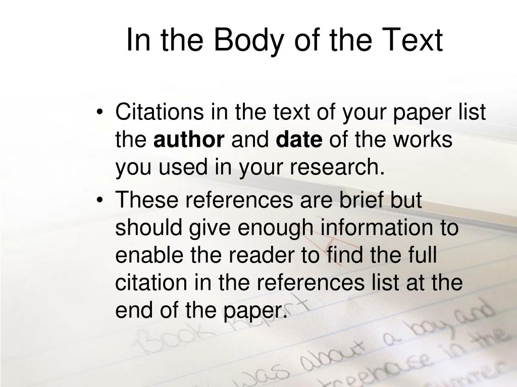 In the Body of the Text