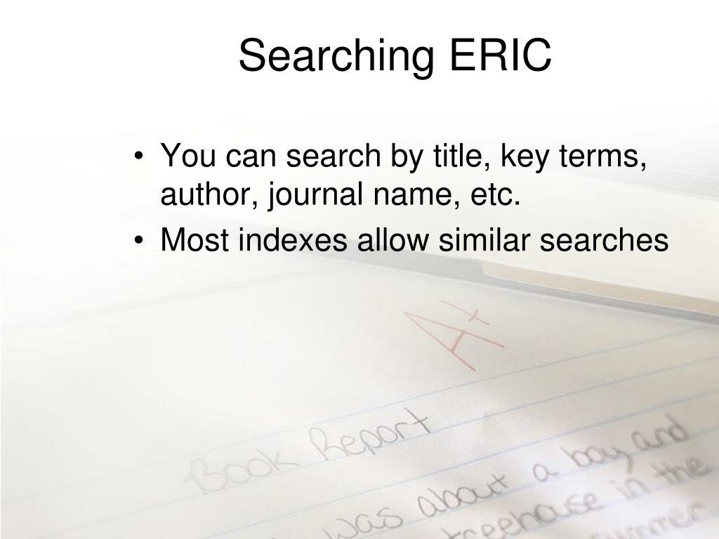 Searching ERIC