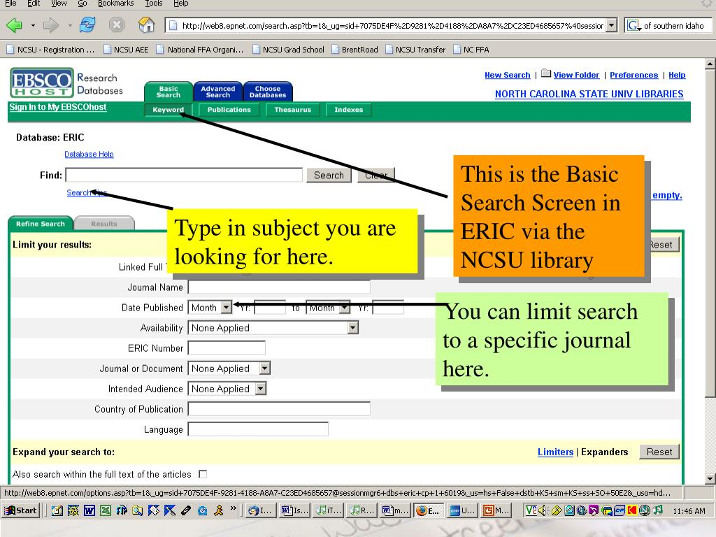 This is the Basic Search Screen in ERIC via the NCSU library
