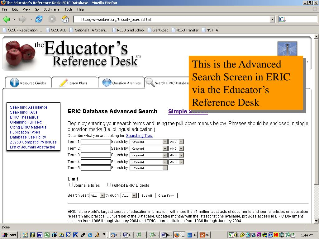 This is the Advanced Search Screen in ERIC via the Educator's Reference Desk