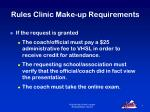 rules clinic make up requirements