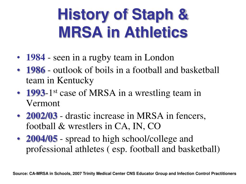 History of Staph &          MRSA in Athletics