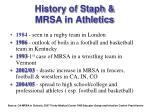 history of staph mrsa in athletics