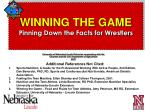 winning the game pinning down the facts for wrestlers79