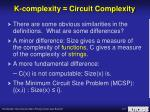 k complexity circuit complexity1