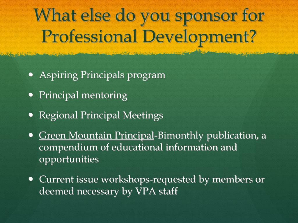 What else do you sponsor for Professional Development?