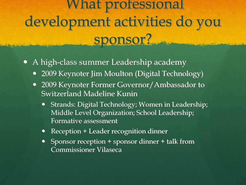 What professional development activities do you sponsor?