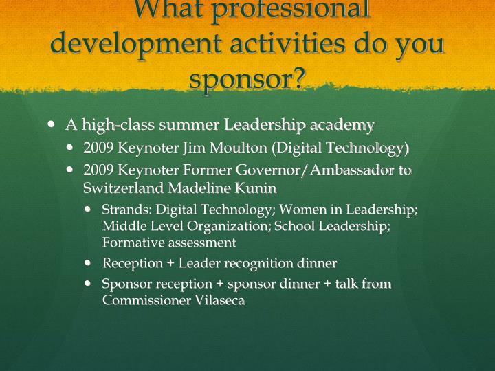 What professional development activities do you sponsor