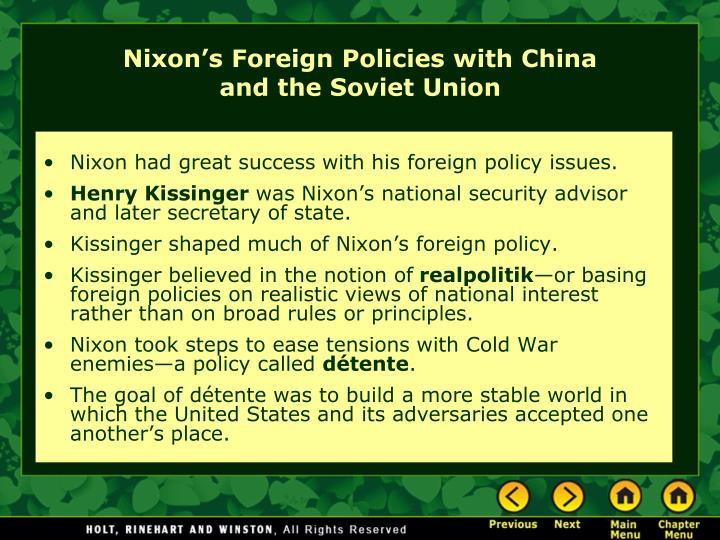 comparison of nixon s policies to previous cold war strategies Nixon, richard m nixon's détente policies shifted american cold war containment strategy from confrontation to negotiation nixon's impact on american cold.