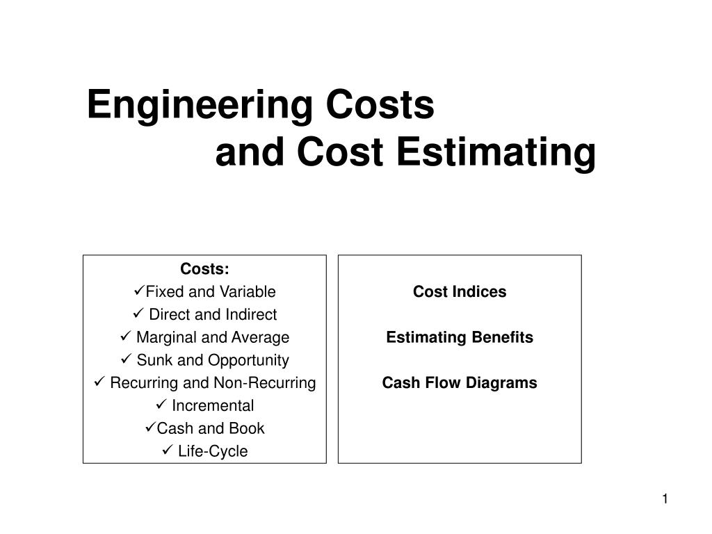 engineering costs and cost estimating l.