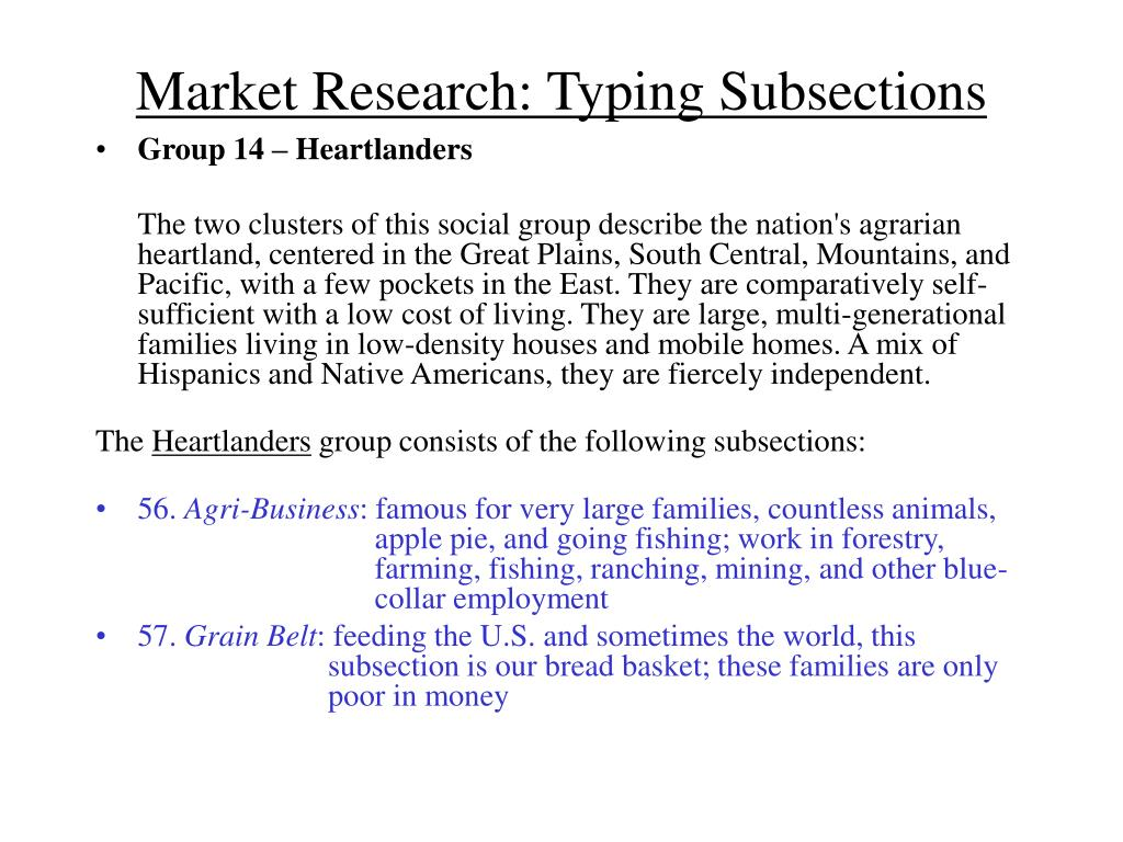 Market Research: Typing Subsections