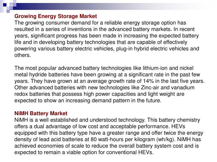 Growing Energy Storage Market