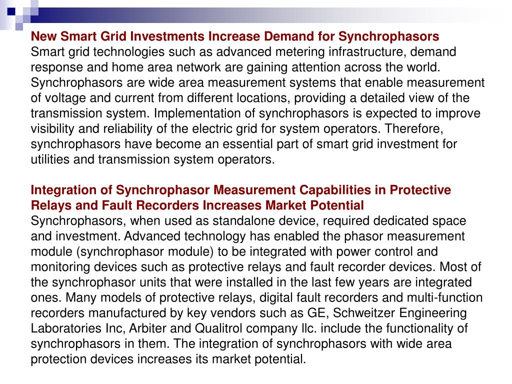 New Smart Grid Investments Increase Demand for Synchrophasors