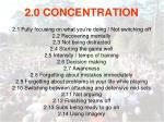 2 0 concentration