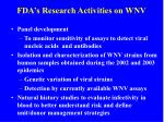 fda s research activities on wnv