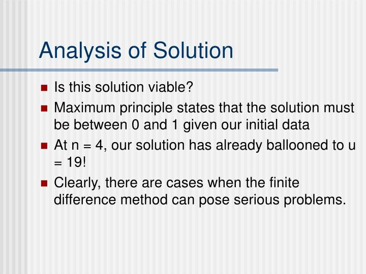Analysis of Solution