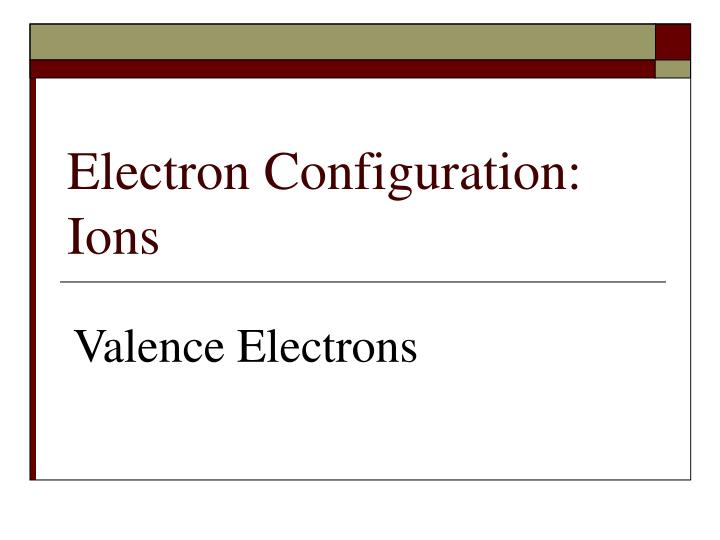 electron configuration ions n.