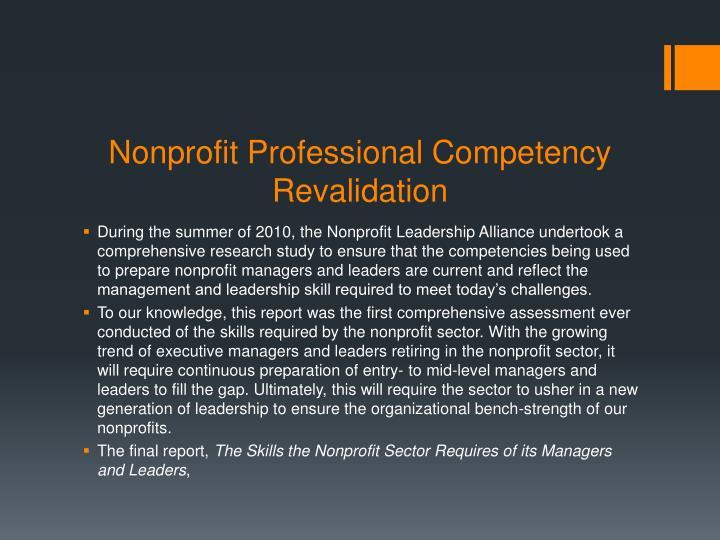 Nonprofit Professional Competency Revalidation