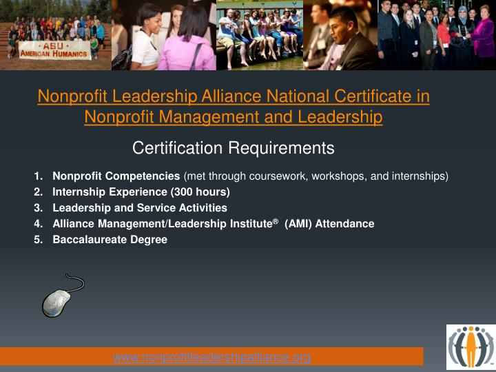 Nonprofit Leadership Alliance National Certificate in