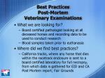 best practices post mortem veterinary examinations