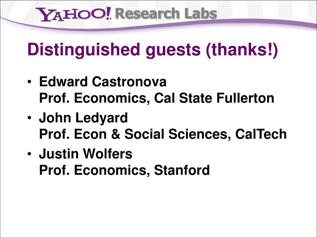 Distinguished guests (thanks!)