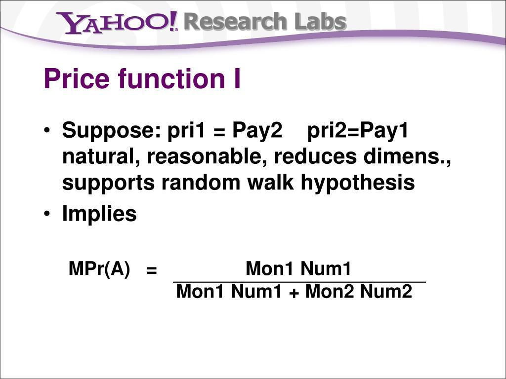 Price function I