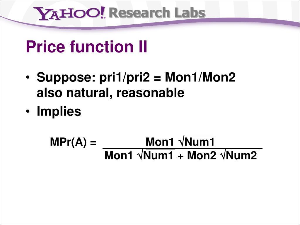 Price function II