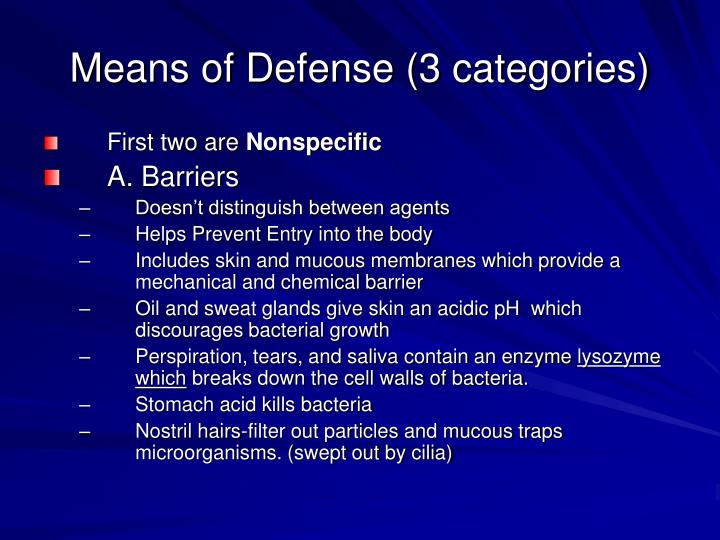 Means of defense 3 categories