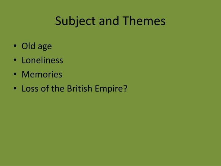 Subject and themes