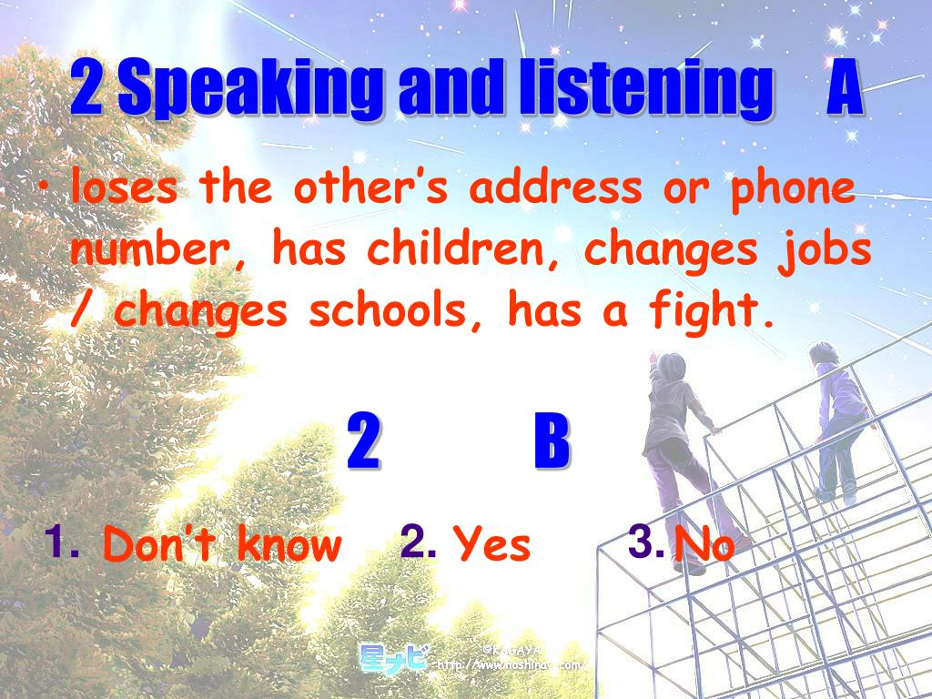 2 Speaking and listening	 A