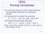 cfg s proving correctness