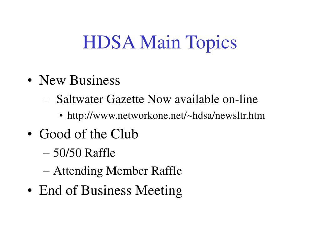 HDSA Main Topics