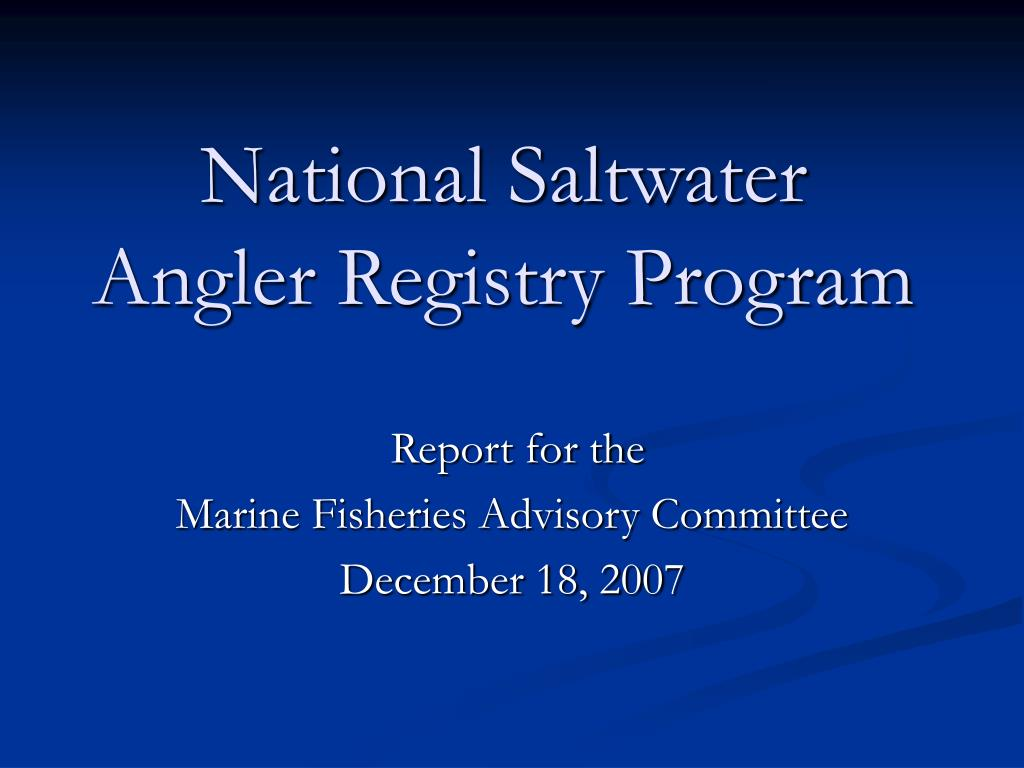 national saltwater angler registry program l.