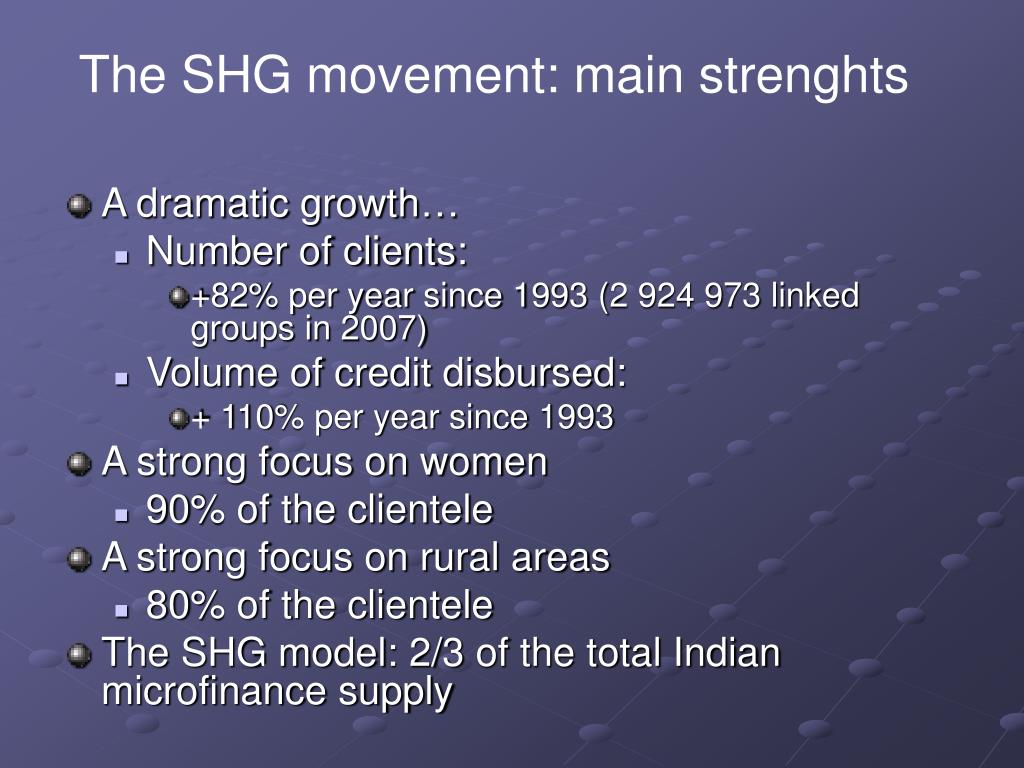 The SHG movement: main strenghts