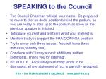 speaking to the council