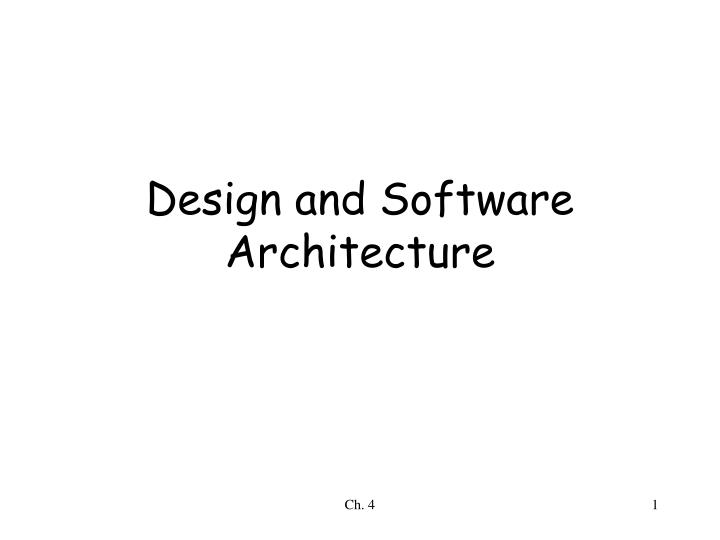 design and software architecture n.