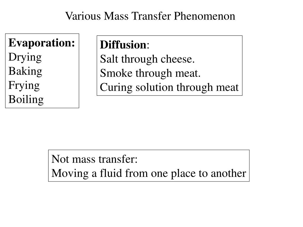 Various Mass Transfer Phenomenon