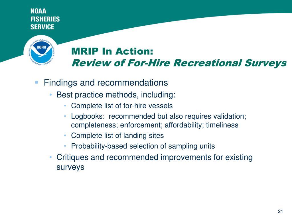 MRIP In Action: