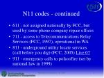 n11 codes continued