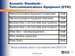 acoustic standards telecommunications equipment etsi