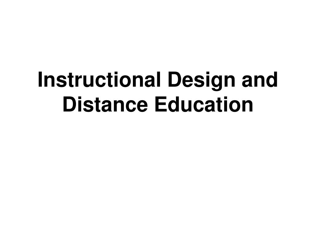 instructional design and distance education l.